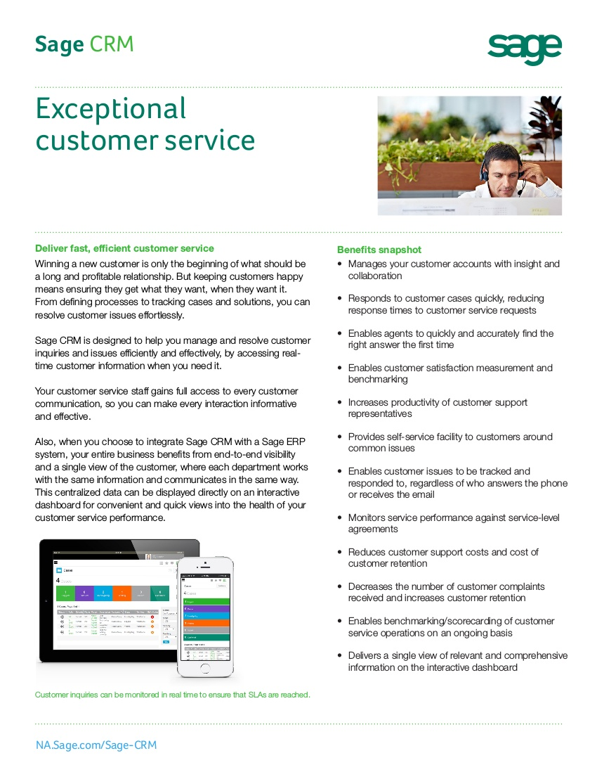 sage crm customer service sales sheet