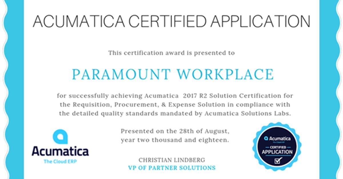 acumatica certificate