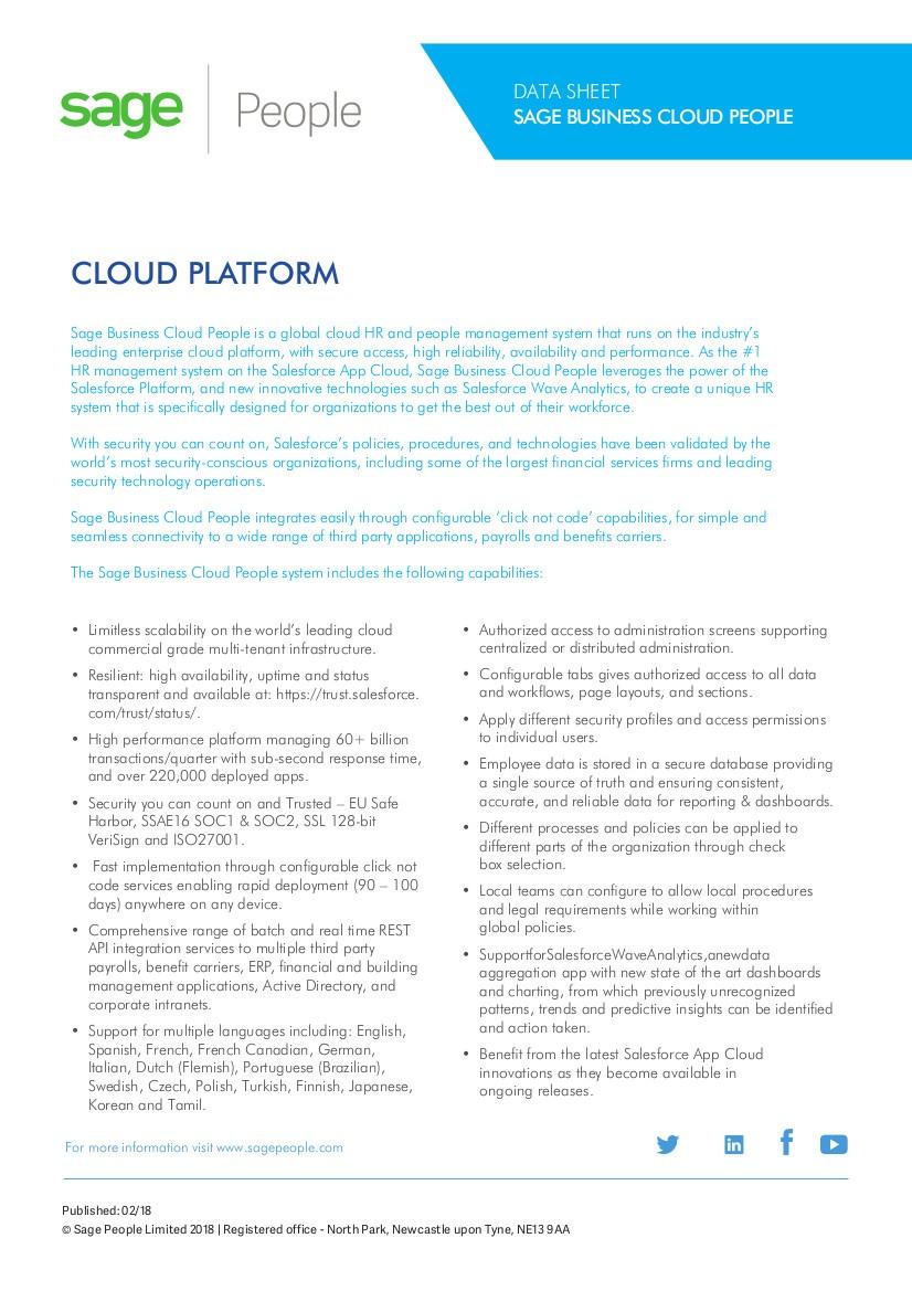 sage people cloud platform features