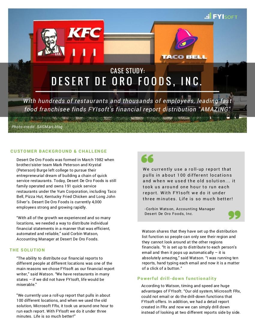 desert de oro foods restaurant case study