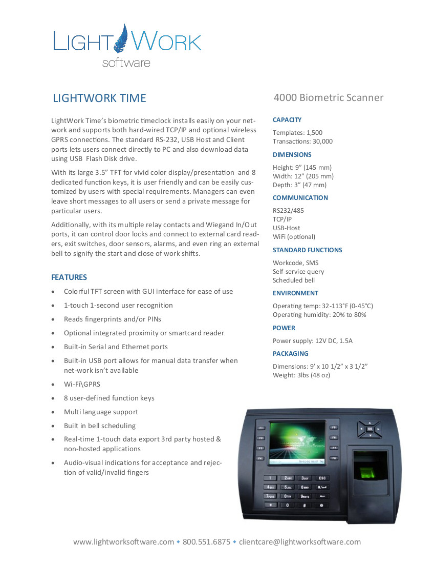 LightWork LW 400 Timeclock pdf