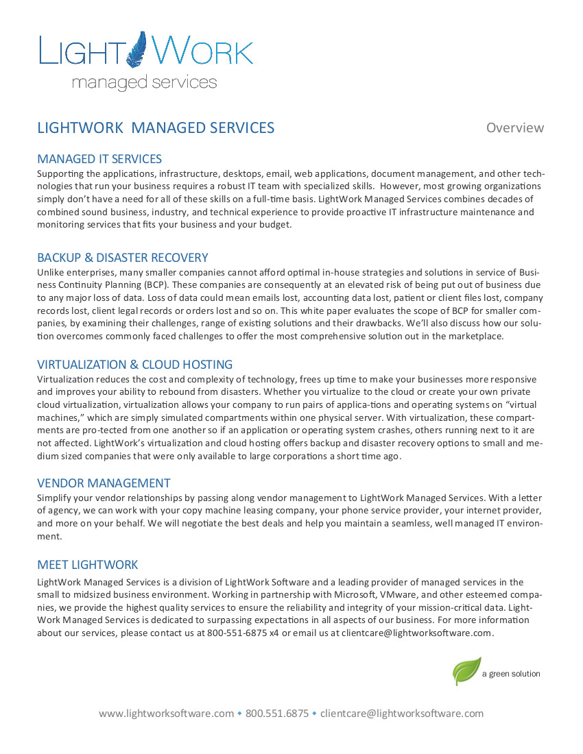 LightWork Managed Services feature sheet