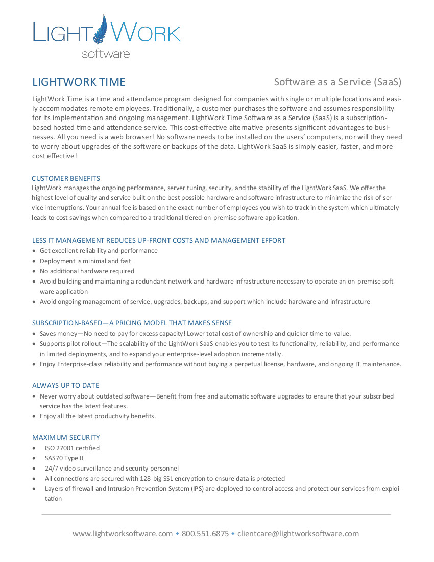 LightWork Time SAAS pdf