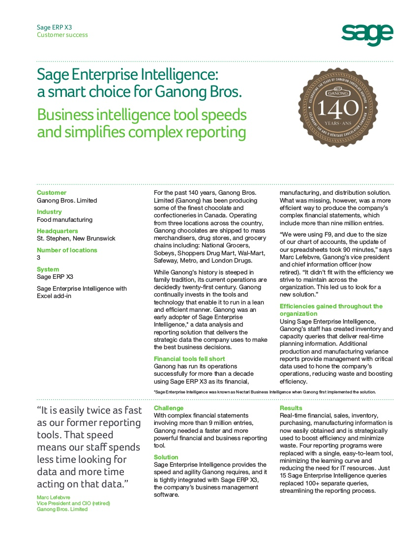 Sage Enterprise Intelligence - Business Intelligence Software