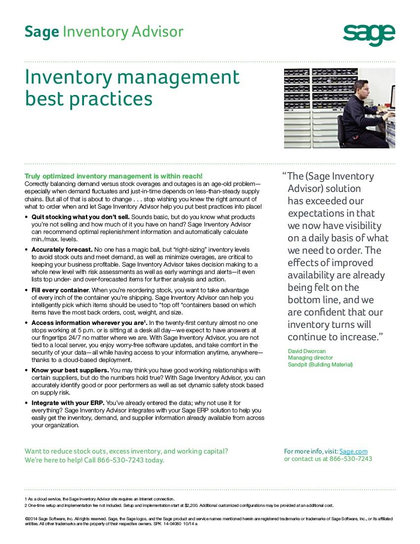 sage inventory best practices