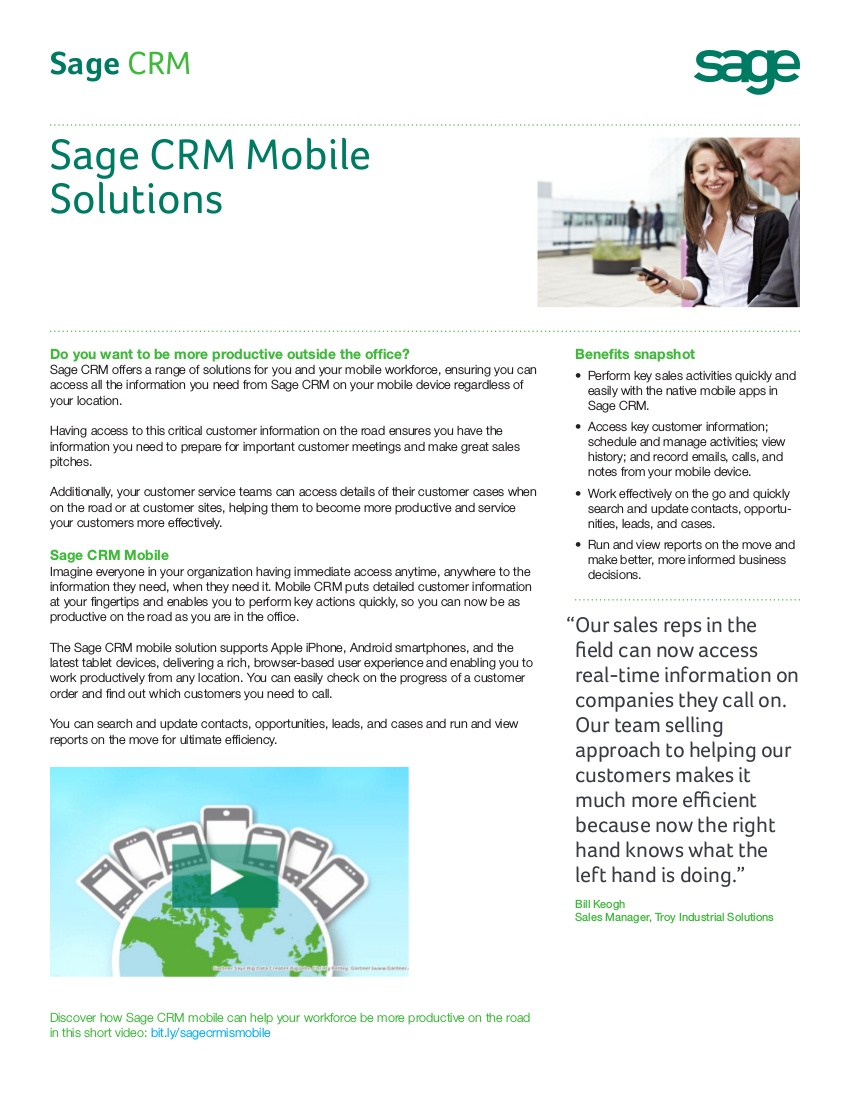 sage crm for mobile solutions