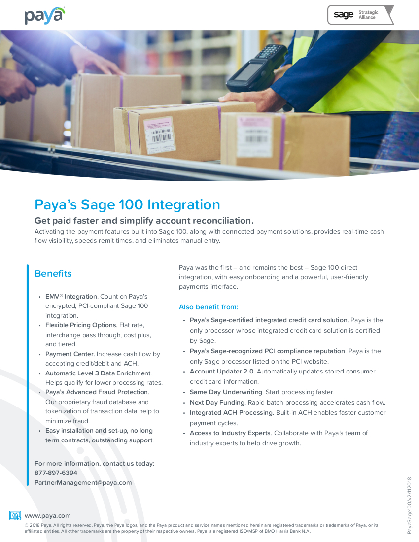 Paya Sage100 Integration