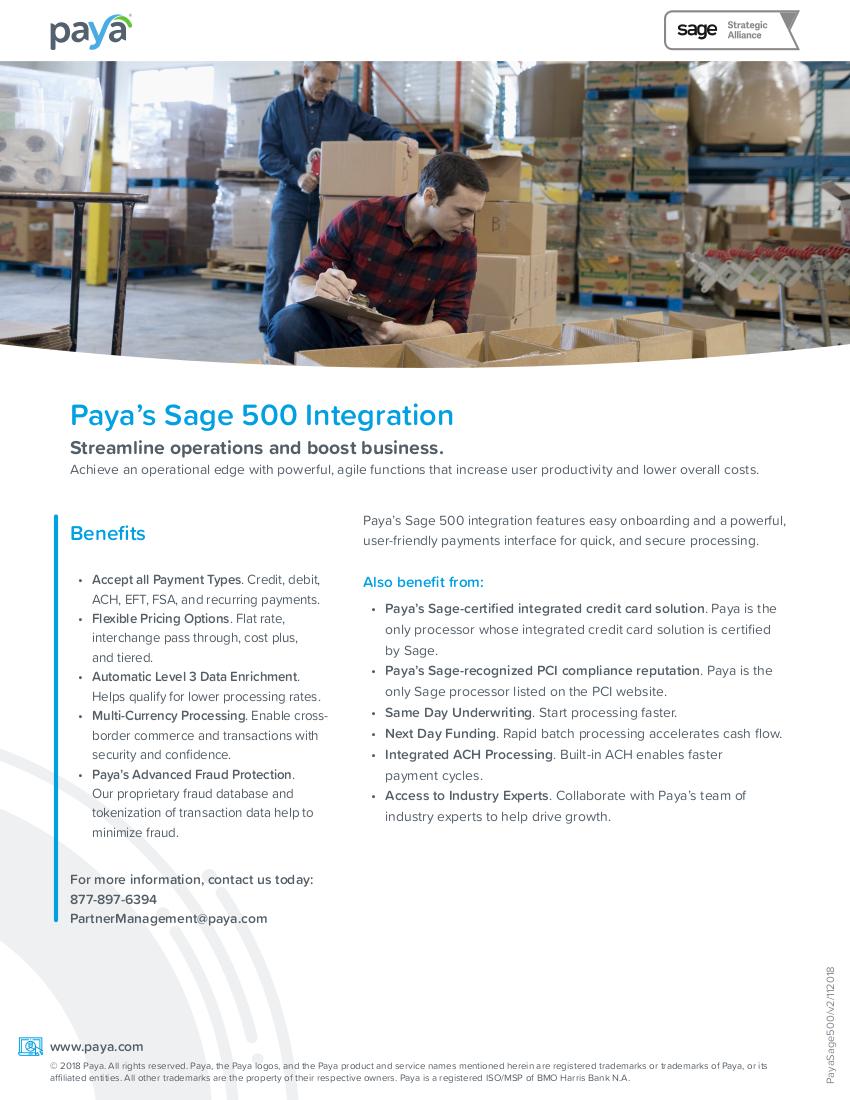 Paya Sage500 Integration