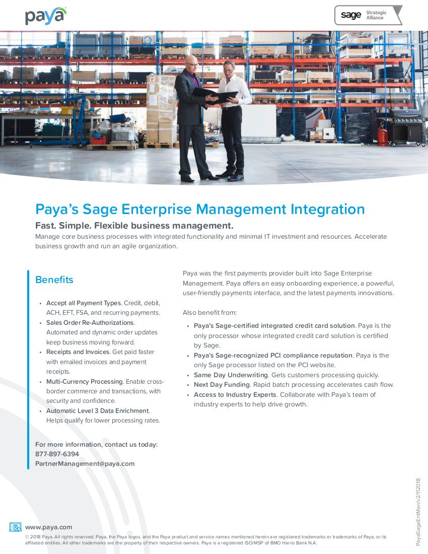 Paya SageEM Integration